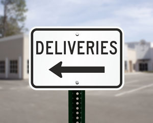 Delivery sign with arrow