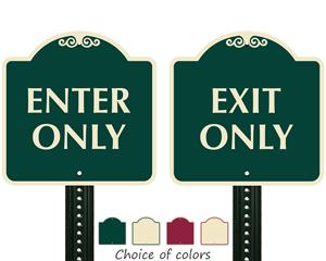 Designer parking lot directional signs