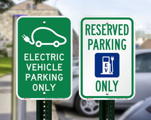 Electric vehicle parking signs