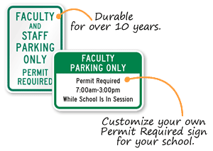 Faculty Student Parking Permit Signs