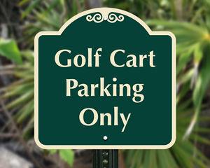 Golf cart parking sign