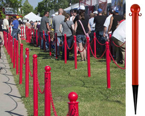 Stanchions for grassy areas