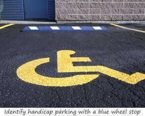 Handicap parking wheel stop