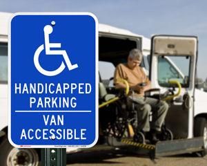 Handicapped parking van accessible sign