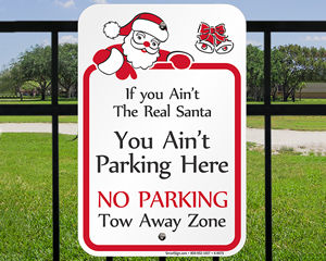 Holiday No Parking Signage