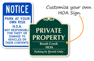 homeowners association gate warning resident parking signs