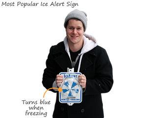 Ice alert turns blue when freezing