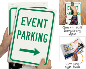 Low cost temporary event parking sign book