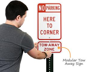 Modular tow away sign
