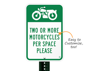 Motorcycle parking sign