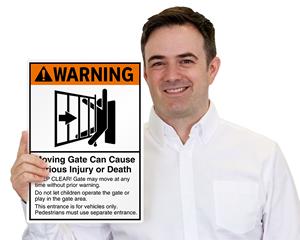 Moving Gate Warning Sign