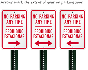 No parking any time sign in english and spanish