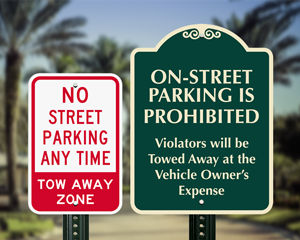 So street parking signs