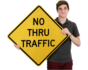 No Thru Traffic Diamond Sign