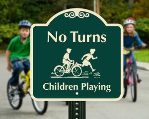 No turns children playing sign