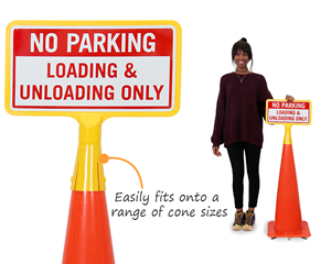 Parking cone top signs