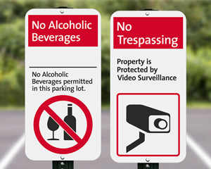 Parking lot security signs