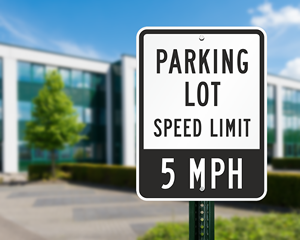 Parking lot speed limit sign