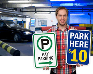 Pay for parking signs