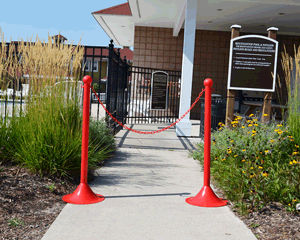 Plastic stanchion for entrances