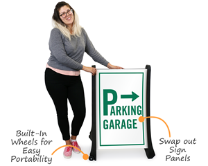 Portable parking garage sign