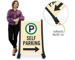 Portable self- park signs