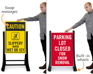 Portable signs for snowy or icy parking lots