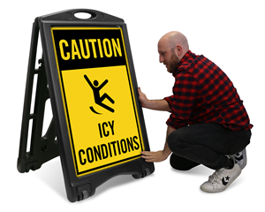 Portable Signs Icy Parking Lots