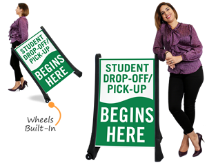 Large drop off signs