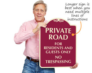 Private road for residents sign