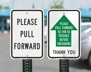Pull forward parking sign