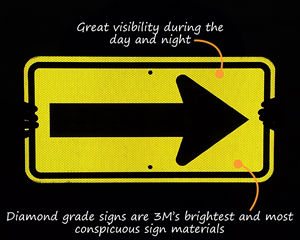 Reflective arrow sign