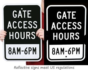Reflective custom gate signs