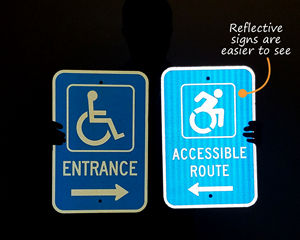 Reflective handicap accessible entrance sign