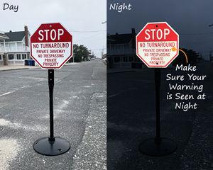 Reflective No Turn Around Sign