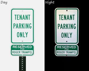Reflective tenant parking signs