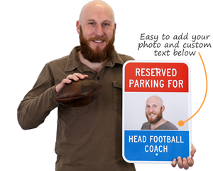 Reserved parking sign with photo