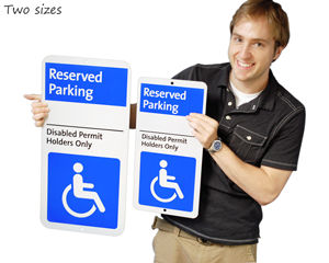 New reserved parking sign designs, in two sizes