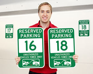 Green Reserved Parking Spot Signs