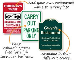 Restaurant Parking Signs