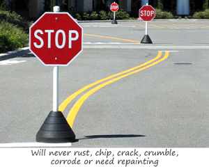 Rubber base for traffic signs