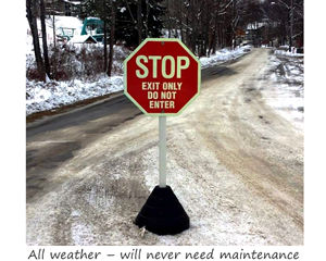 Rubber sign base outlasts weather