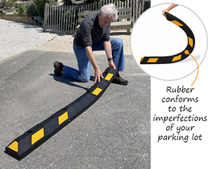 Rubber conforms to the imperfections of your parking lot