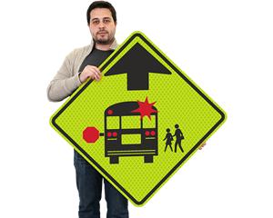 School bus ahead sign