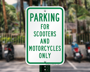 Scooter and motorcycle parking sign
