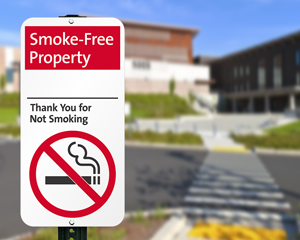 Smoke free property sign for parking lot