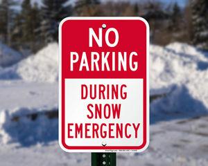 Snow parking sign