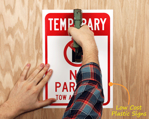 Easily staple your plastic sign to poles or walls