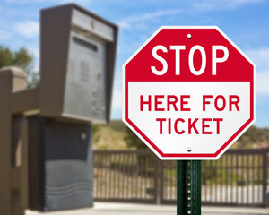 Stop here for ticket sign