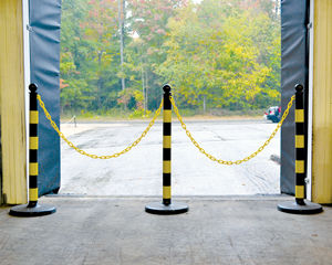Striped safety stanchions